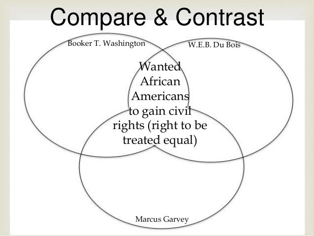 a comparison of booker t washington and w e b dubois views Open document below is an essay on compare and contrast the ideas of booker t washington, web dubois and marcus garvey from anti essays, your source for research papers, essays, and term paper examples.