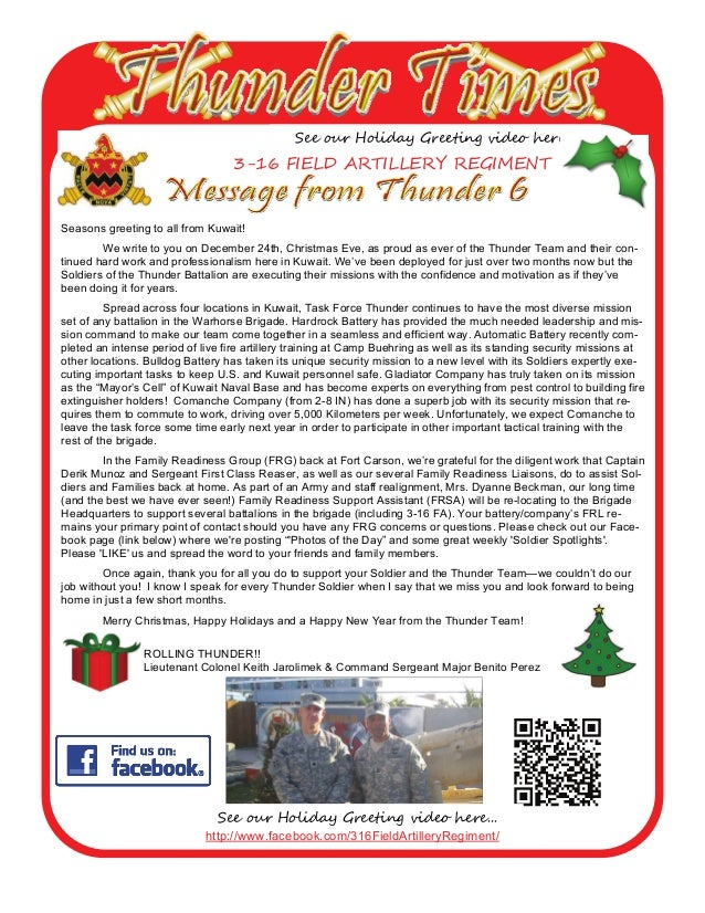See our Holiday Greeting video here...  3-16 FIELD ARTILLERY REGIMENT  Seasons greeting to all from Kuwait! We write to yo...