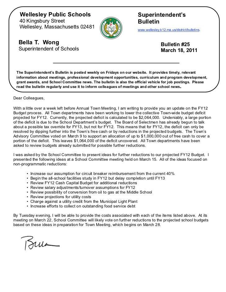 Superintendent's Bulletin 3-18-11