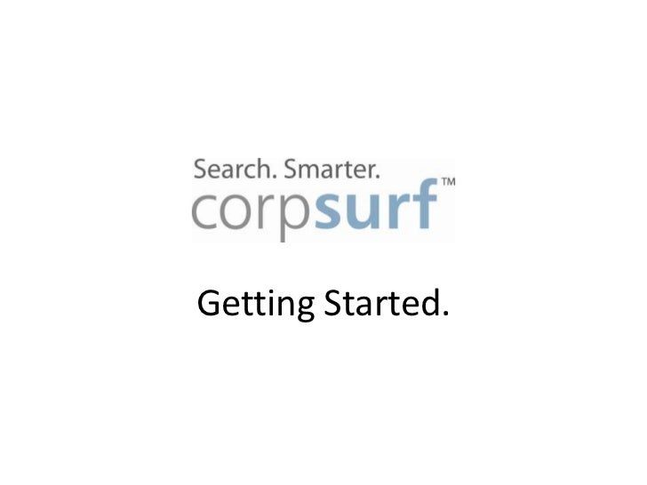 Corpsurf - Getting Started