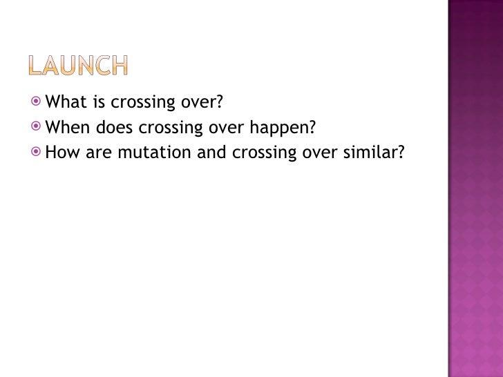 <ul><li>What is crossing over? </li></ul><ul><li>When does crossing over happen? </li></ul><ul><li>How are mutation and cr...