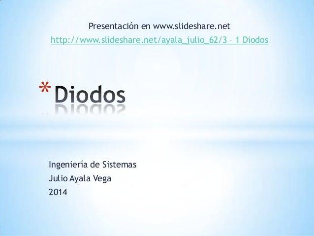 Ingeniería de Sistemas Julio Ayala Vega 2014 * Presentación en www.slideshare.net http://www.slideshare.net/ayala_julio_62...