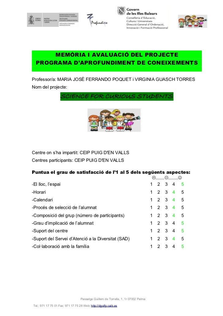 3.1 memòria i avaluació projecte aprofundiment curs 11 12