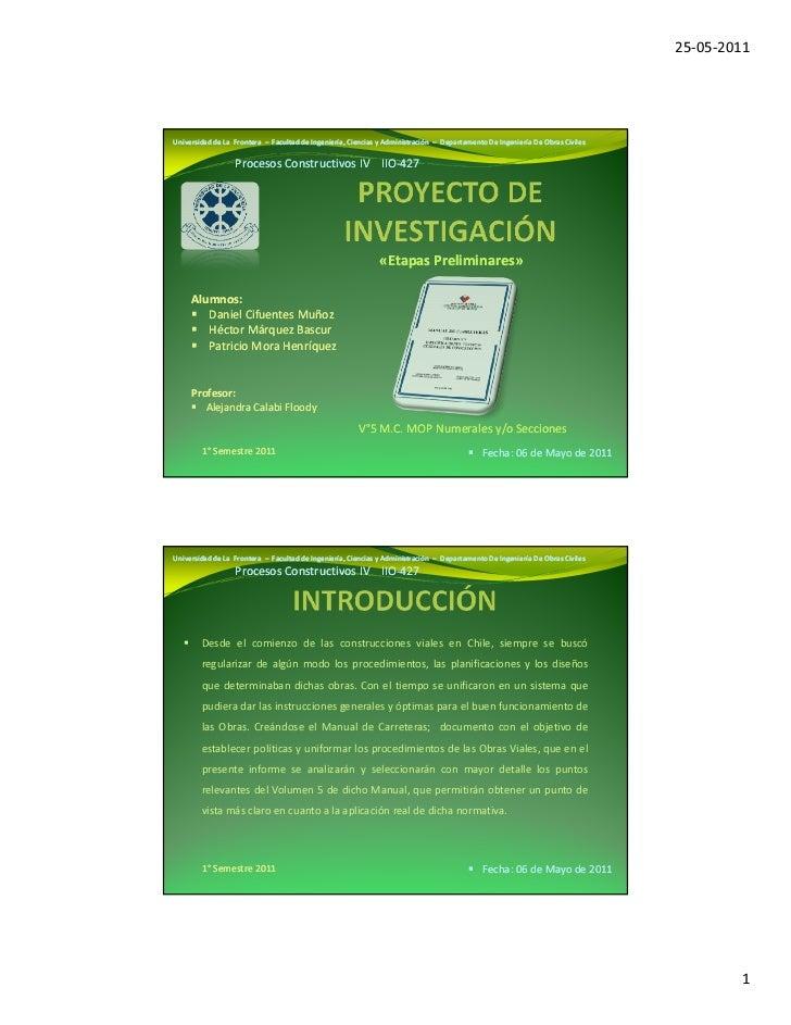 25-05-2011Universidad de La Frontera – Facultad de Ingeniería, Ciencias y Administración – Departamento De Ingeniería De O...