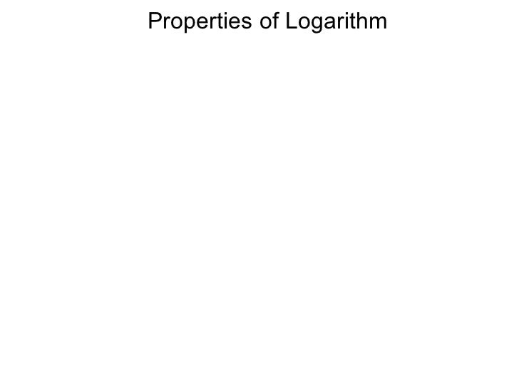3.1 properties of logarithm