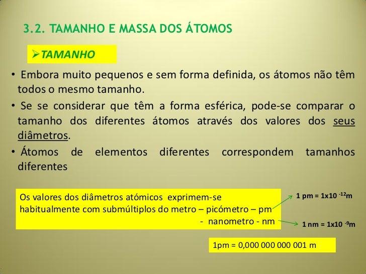 3.2. TAMANHO E MASSA DOS ÁTOMOS   TAMANHO• Embora muito pequenos e sem forma definida, os átomos não têm todos o mesmo ta...