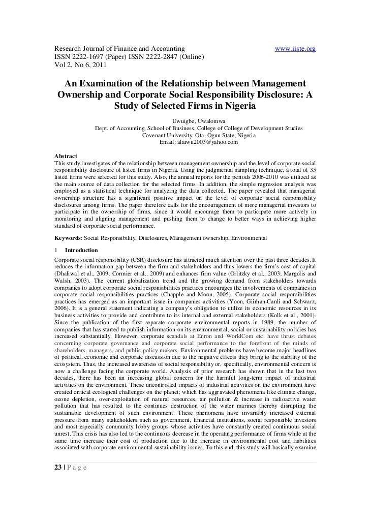 3.[23 29]an examination of the relationship between management ownership and corporate social responsibility disclosure