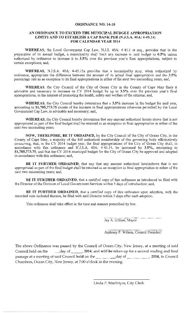 Ocean City Council agenda March 27, 2014