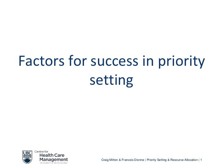 3.2 factors for success in priority setting (t)