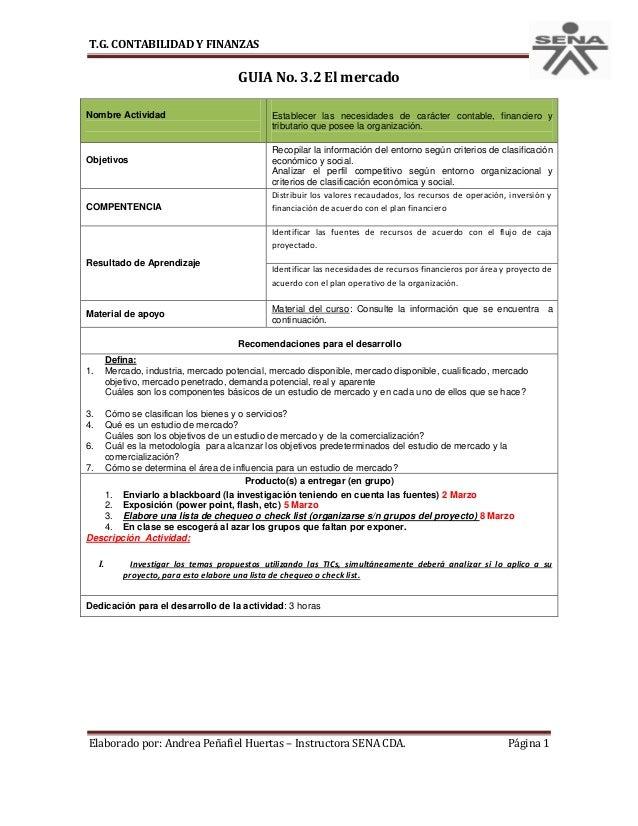 T.G. CONTABILIDAD Y FINANZAS                                   GUIA No. 3.2 El mercadoNombre Actividad                    ...