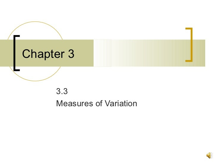 Chapter 3 3.3 Measures of Variation