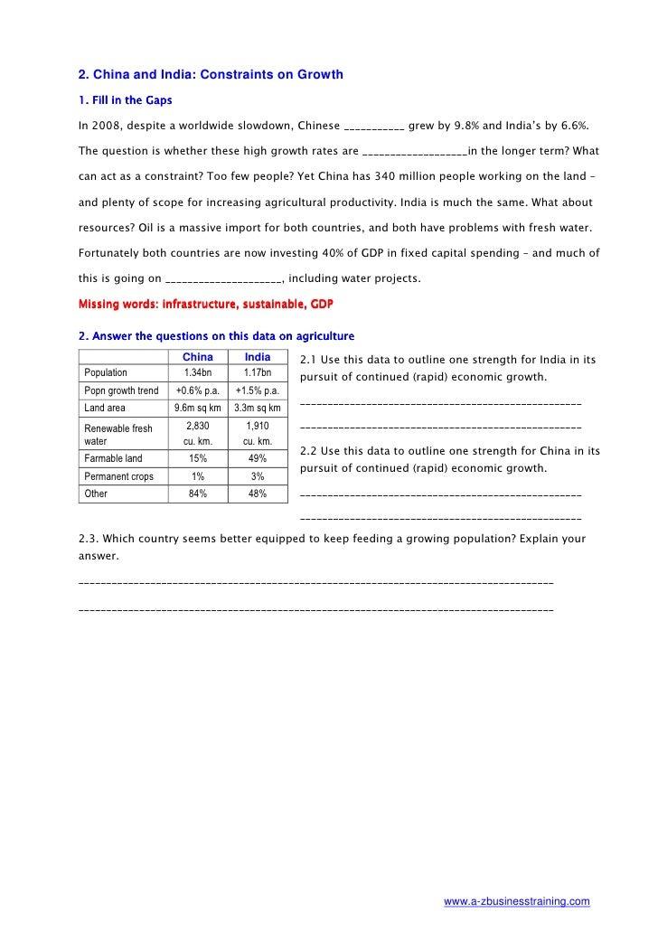 China and India worksheet
