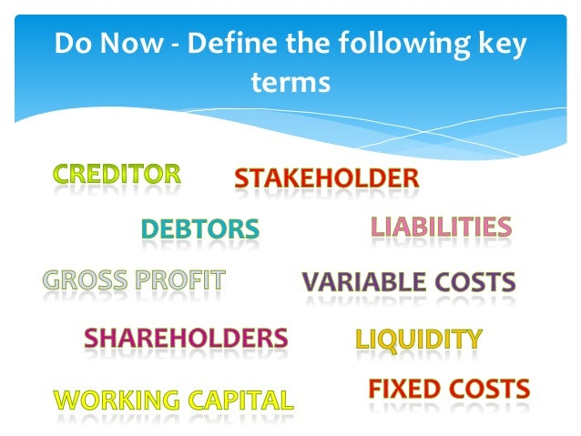 Do Now - Define the following key             terms