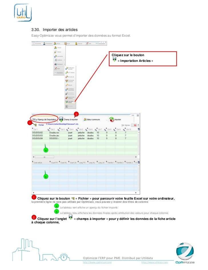 3.30. Importer des articles    Easy-Optimizze vous permet d'importer des données au format Excel.               ...