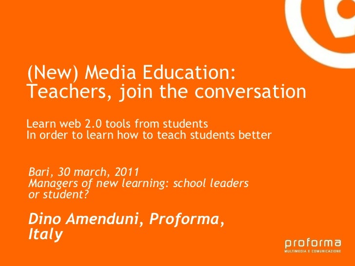 (New) Media Education: Teachers, join the conversation