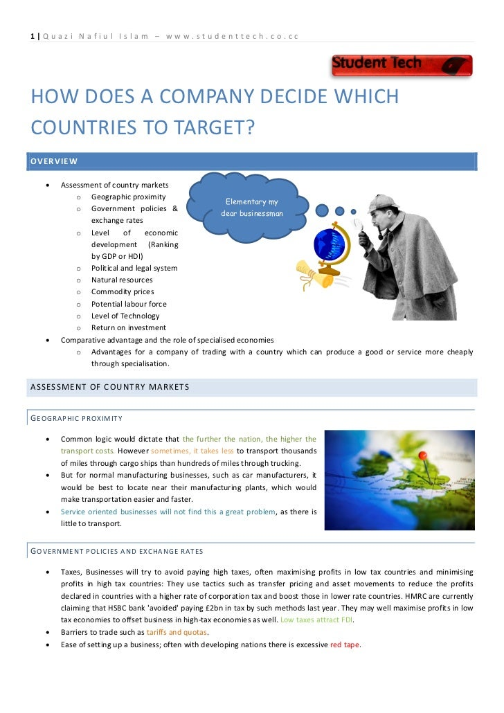 3.3 how a company decides on which country to target