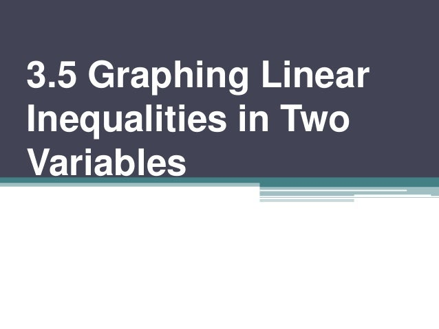 3.5 Graphing Linear Inequalities in Two Variables