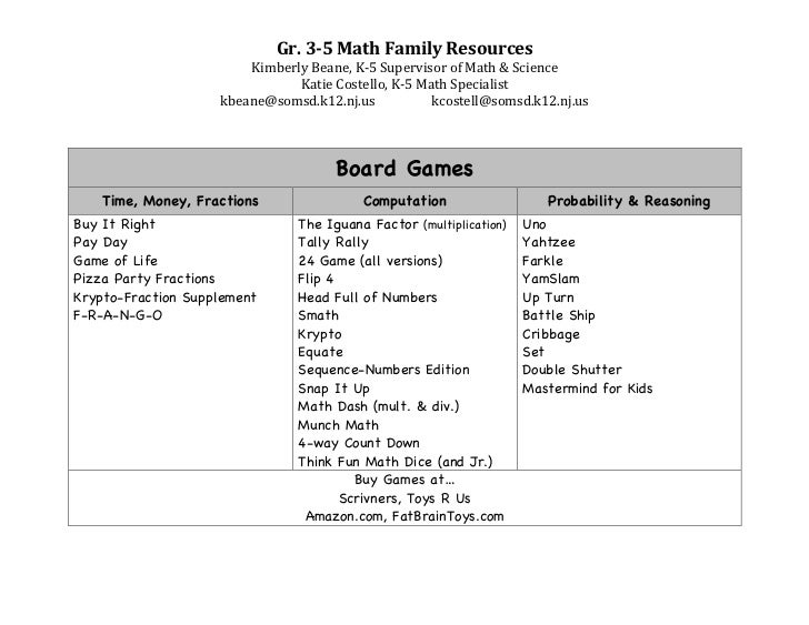 Gr. 3-5 Math Games for Parents