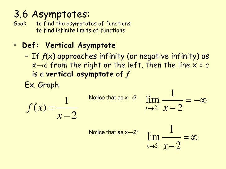 3.6 Asymptotes:Goal: 	to find the asymptotes of functions	to find infinite limits of functions<br />Def:  Vertical Asympto...