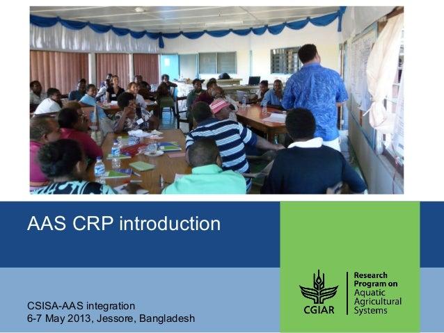 AAS CRP introductionCSISA-AAS integration6-7 May 2013, Jessore, Bangladesh