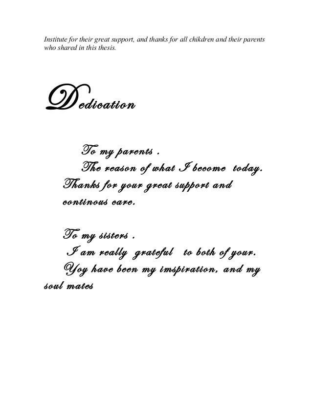 Best dedication dissertation