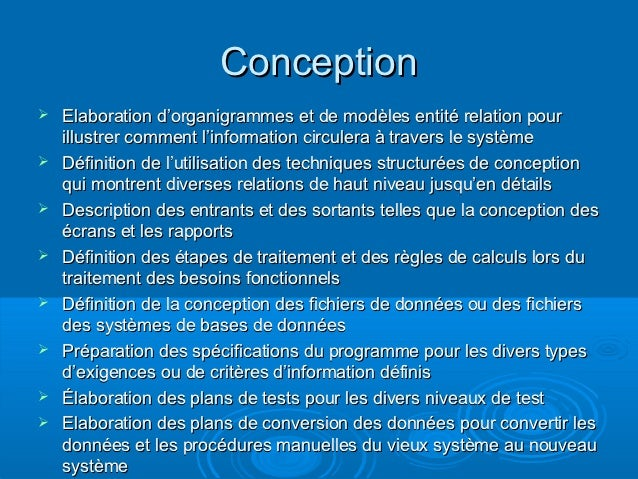 Acquisition conception et implantation des si - Definition de conception ...