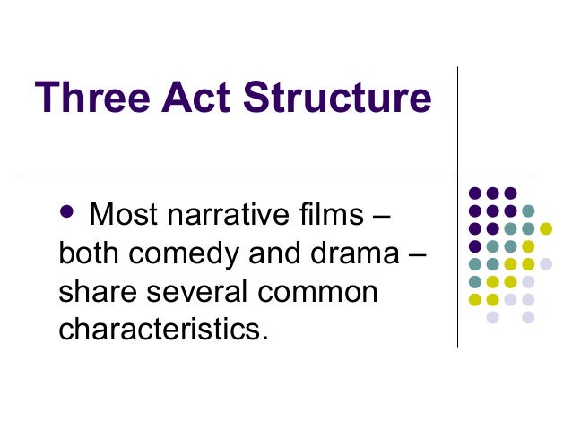 Three Act Structure  Most narrative films – both comedy and drama – share several common characteristics.