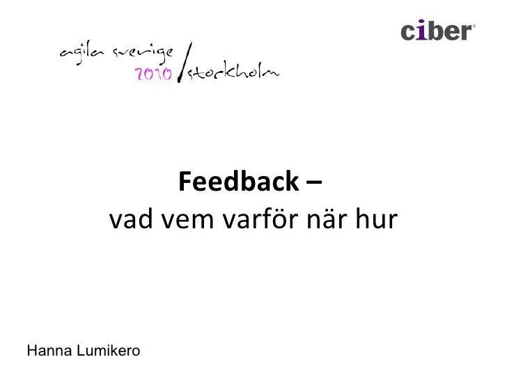Feedback –  vad vem varför när hur Hanna Lumikero