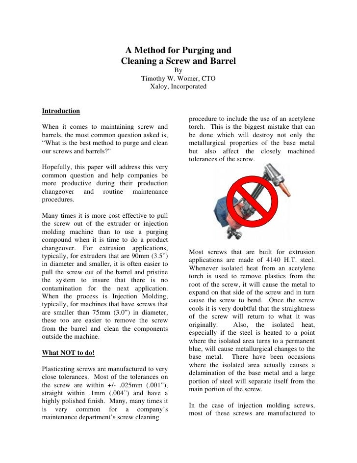 A Method for Purging and                            Cleaning a Screw and Barrel                                           ...