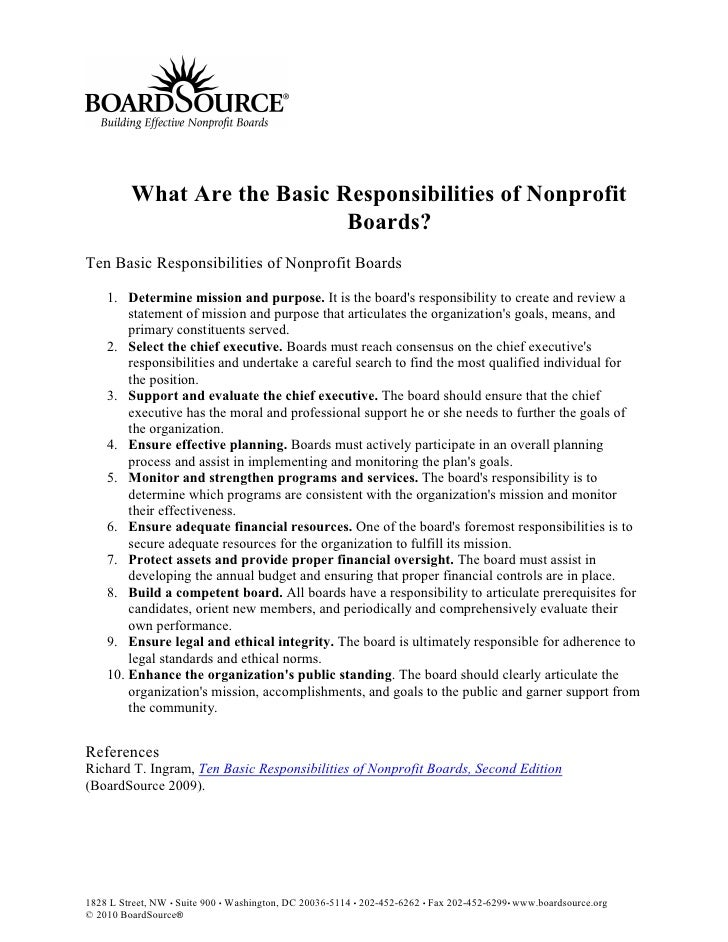 What Are the Basic Responsibilities of Nonprofit                              Boards? Ten Basic Responsibilities of Nonpro...