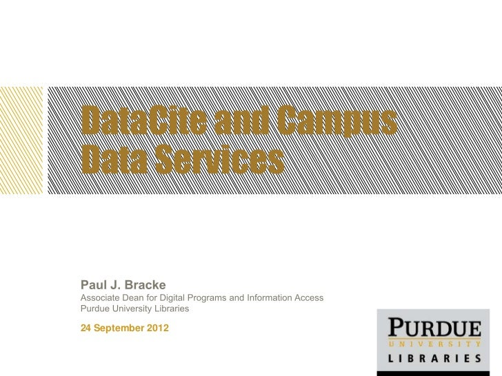 NISO Forum, Denver, Sept. 24, 2012: DataCite and Campus Data Services