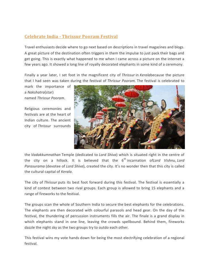 Celebrate India - Thrissur Pooram FestivalTravel enthusiasts decide where to go next based on descriptions in travel magaz...
