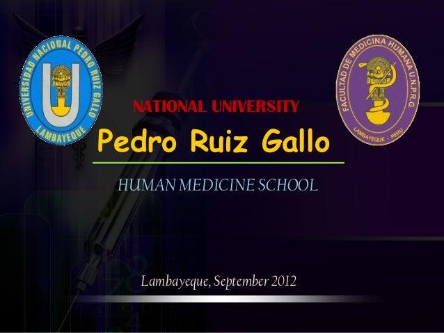 NATIONAL UNIVERSITYPedro Ruiz Gallo HUMAN MEDICINE SCHOOL   Lambayeque, September 2012