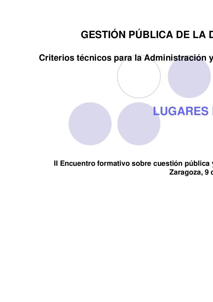 Criterios Técnicos para la Administración en cuanto a Lugares de Culto