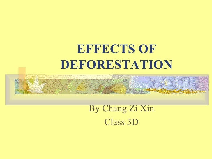 EFFECTS OF DEFORESTATION By Chang Zi Xin Class 3D