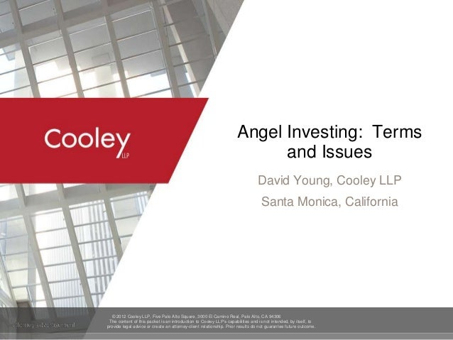 Angel Bootcamp - Angel Investing: Terms and Issues - Dave Young