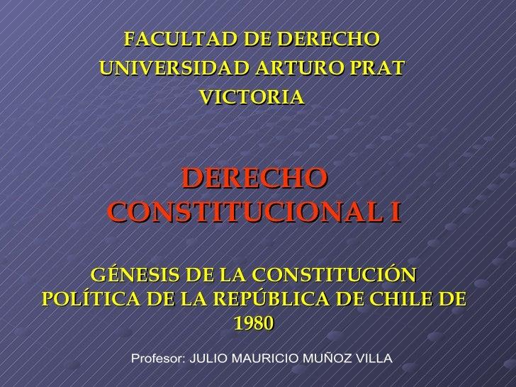 DERECHO CONSTITUCIONAL I GÉNESIS DE LA CONSTITUCIÓN POLÍTICA DE LA REPÚBLICA DE CHILE DE 1980 FACULTAD DE DERECHO UNIVERSI...