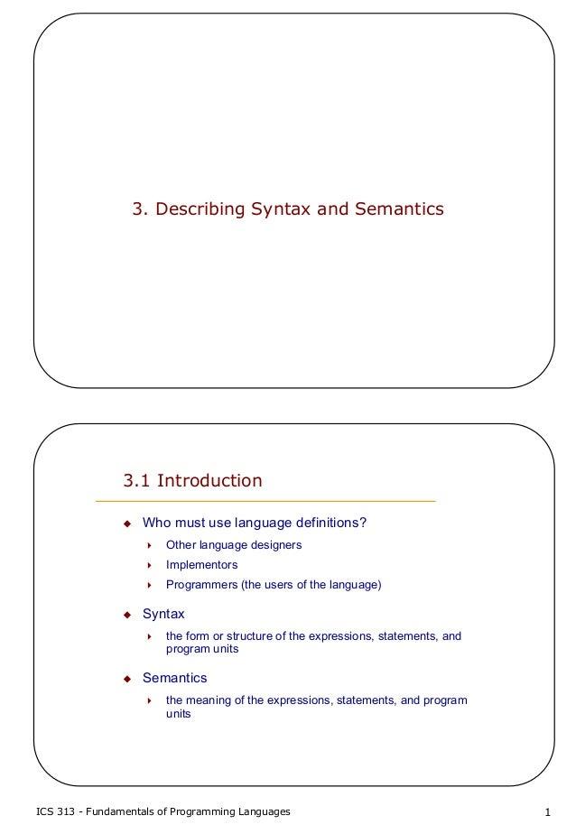 3 describing syntax and semantics