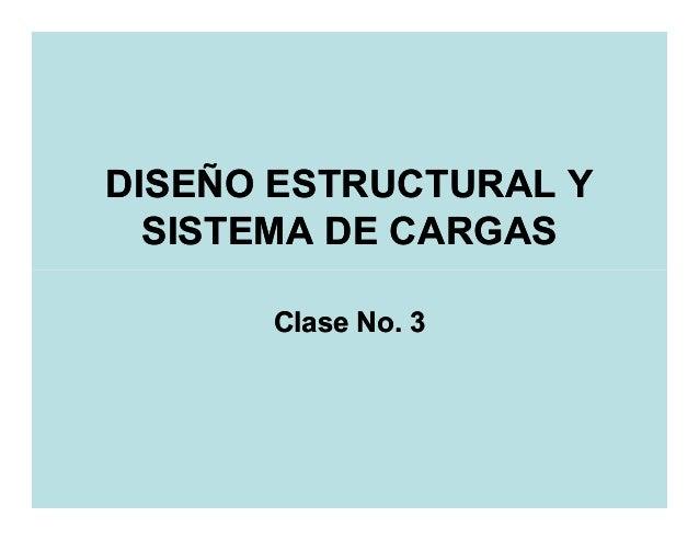 DISEÑO ESTRUCTURAL Y  SISTEMA DE CARGAS      Clase No. 3