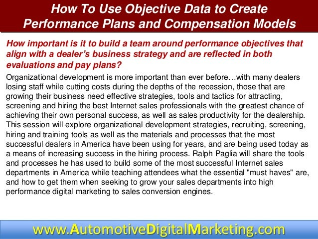 3 dmsc 2013 objective data performance plans