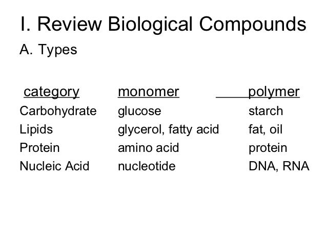 I. Review Biological CompoundsA. Typescategory       monomer                polymerCarbohydrate   glucose                s...