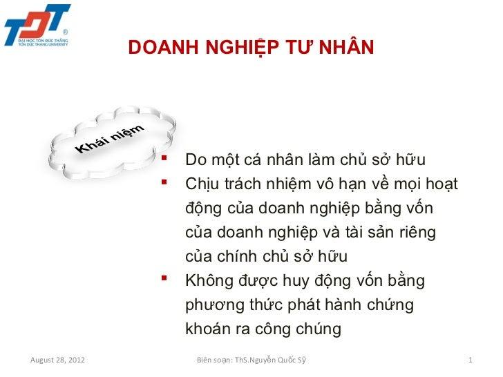 Luật kinh doanh - 3 DOANH NGHIỆP TƯ NHÂN