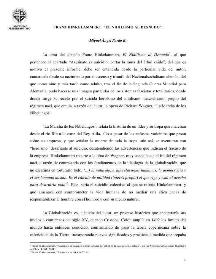 """FRANZ HINKELAMMERT: """"EL NIHILISMO AL DESNUDO"""".                                                   -Miguel Ángel Pardo B.-  ..."""