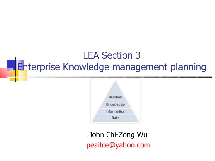 LEA Section 3  Enterprise Knowledge management planning  John Chi-Zong Wu [email_address]