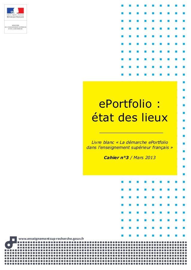 www.enseignementsup-recherche.gouww v.frvv ePortfolio : état des lieux Livre blanc « La démarche ePortfolio dans l'enseign...