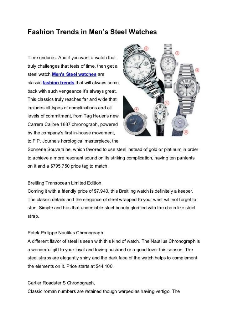 Fashion Trends in Men's Steel Watches