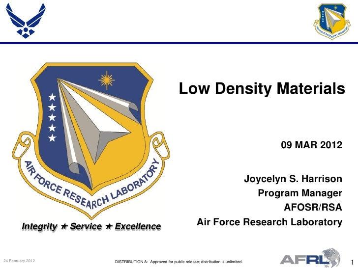 Low Density Materials                                                                                                     ...