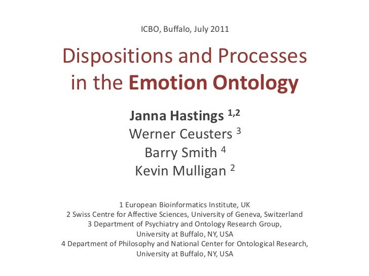 ICBO, Buffalo, July 2011Dispositions and Processes in the Emotion Ontology                    Janna Hastings 1,2          ...