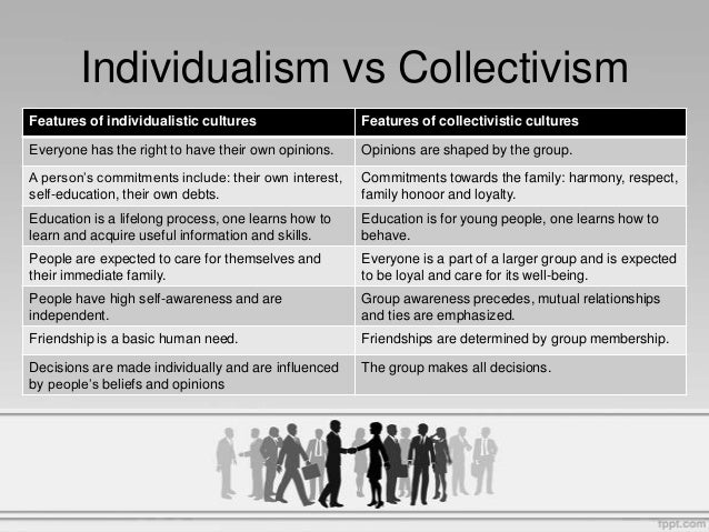 individualism or collectivism in society Collectivism is the principle of giving a group priority over each individual within it let's go into a bit further detail on the two before deciding what kind of society we really are individualism is the idea that the individual's life belongs to them and they have the right to do with it what they please, and pursue his or her own values.