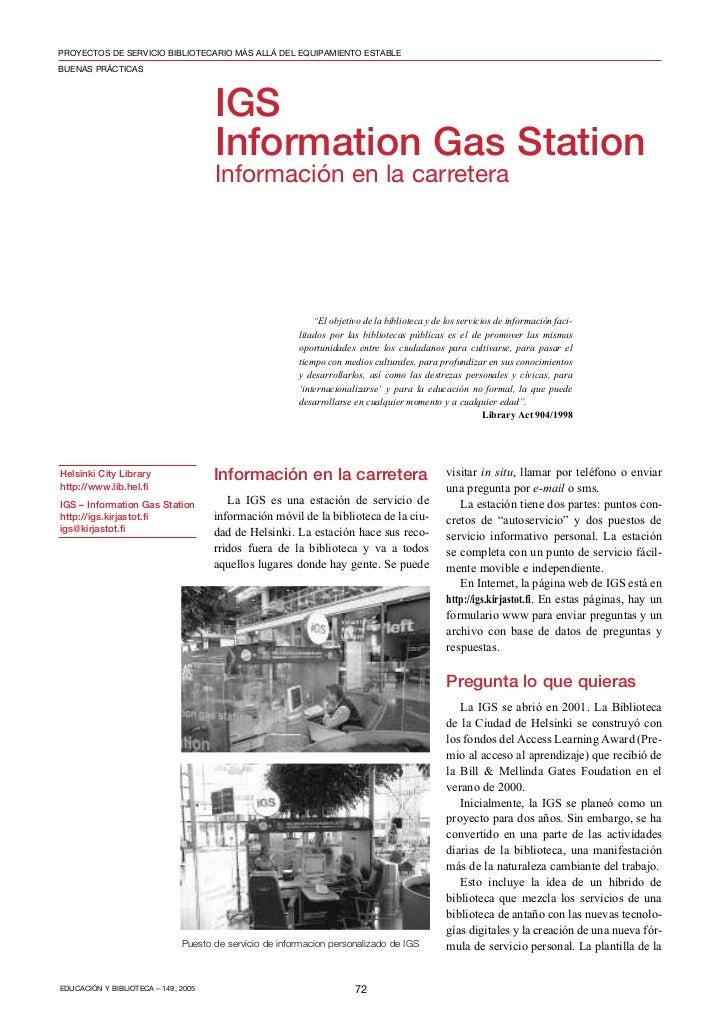 PROYECTOS DE SERVICIO BIBLIOTECARIO MÁS ALLÁ DEL EQUIPAMIENTO ESTABLEBUENAS PRÁCTICAS                                     ...